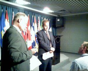 Michael Byers at a press conferenceinOttawa
